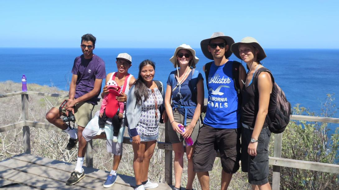 Projects Abroad volunteers get shown around Ecuador by their host family.